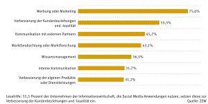 Einsatzzweck von Social Media-Anwendungen in der Informationswirtschaft