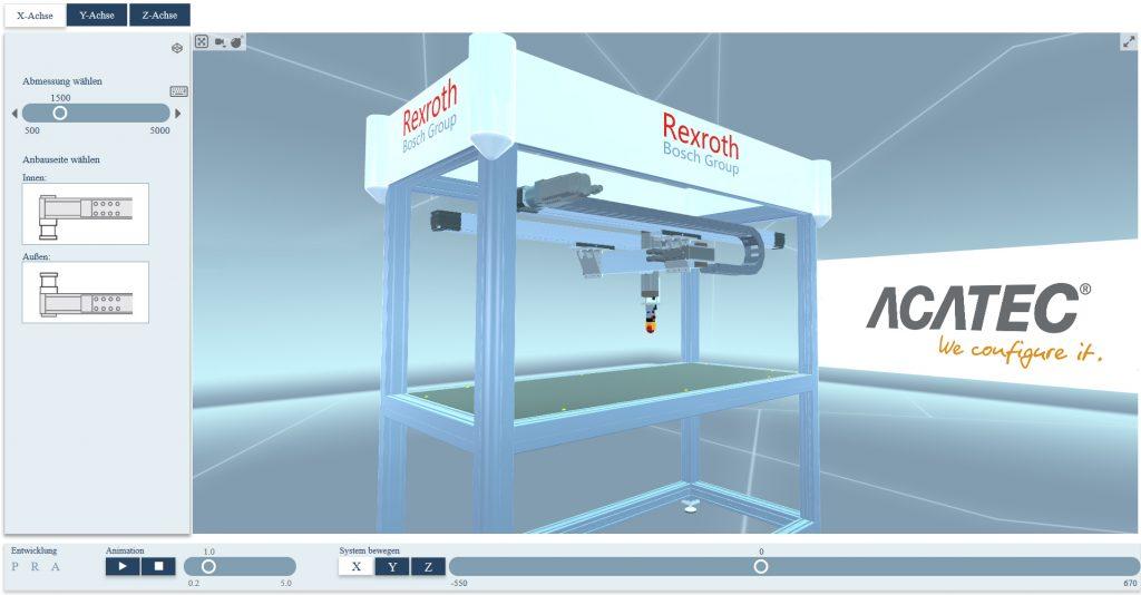 Die Achsen eines Greifroboters sind spielerisch leicht zu konfigurieren. Das Ergebnis ist sofort sichtbar; die eigene Position veränderbar: Das geht mit dem neuen Web 3D-Showroom von Acatec – gezeigt auf der Hannover Messe. (Bild: Acatec Software GmbH)