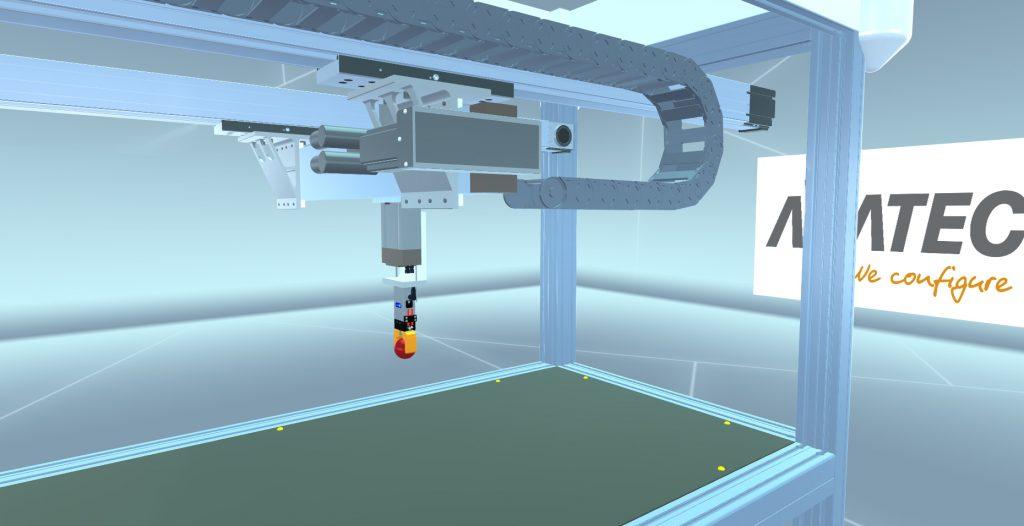 Auf der Hannover Messe 2018 zeigte Acatec den Web 3D-Showroom. Konstrukteure von Bosch Rexroth können damit einfach Mehrachs-Linearsysteme entwickeln. Sie konfigurieren dabei den gewünschten Greif-Roboter mit wenigen Klicks und Einstellungen: Alle Veränderungen sind sofort sichtbar – in Echtzeit lässt sich die Auslegung verändern – und im virtuellen Raum anschauen. (Bild: Acatec Software GmbH)