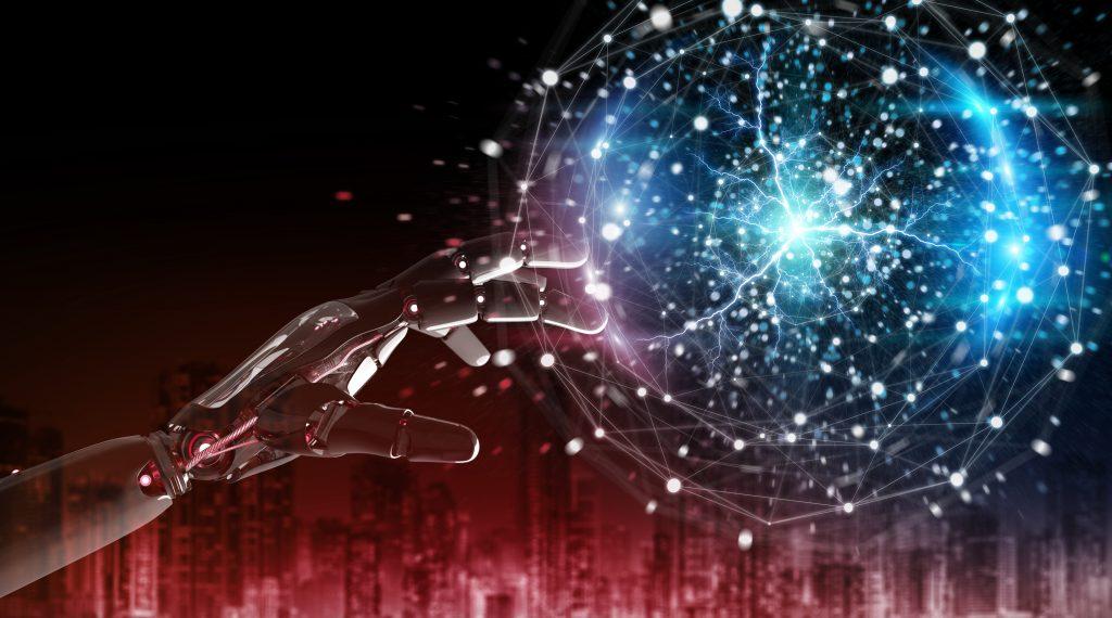 Red robot hacking a digital globe system on dark background 3D rendering (Bild: ©sdecoret/Fotolia.com)