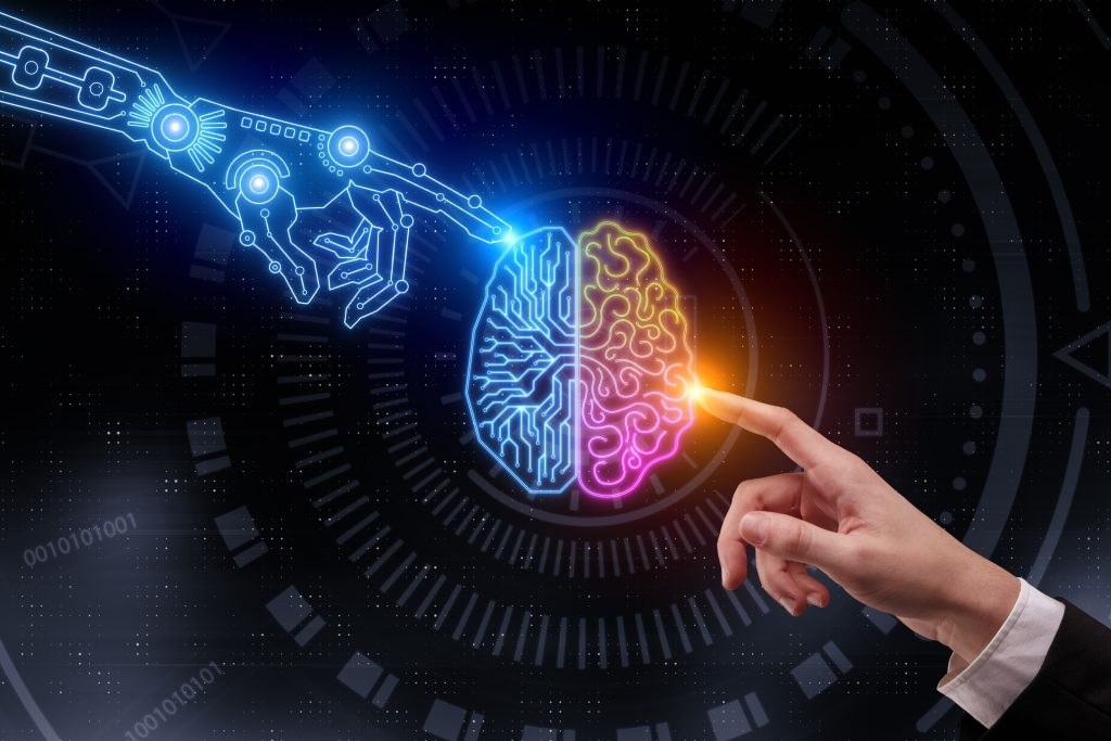 Hand pointing at glowing digital brain. Artificial intelligence and future concept. 3D Rendering (Bild: Silicon Software GmbH)